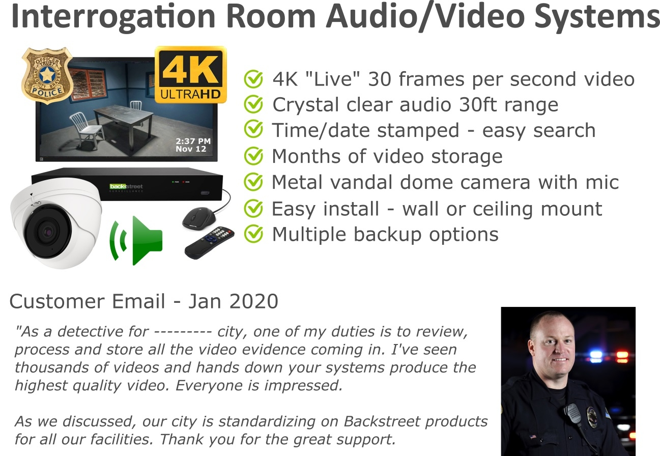 Police interrogation room audio video systems
