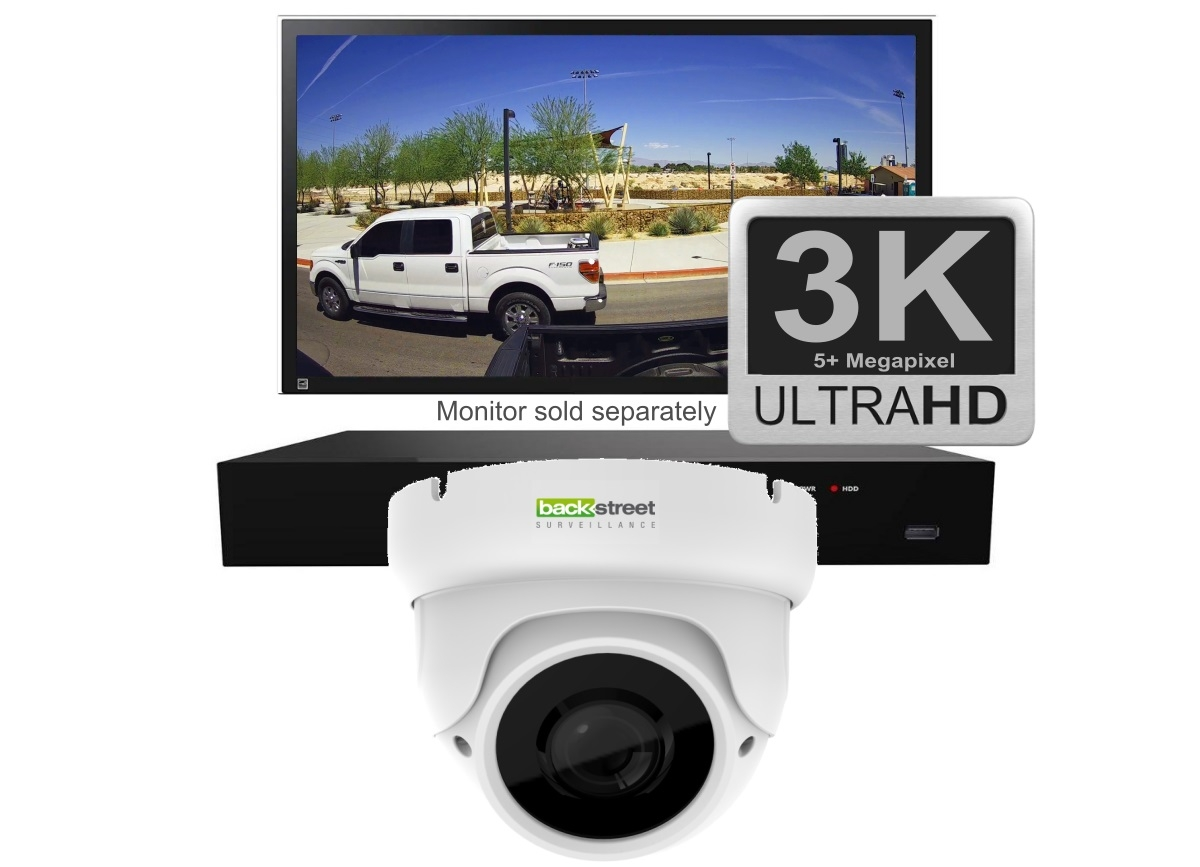 White 1 Security Dome Camera System wit zoom lens