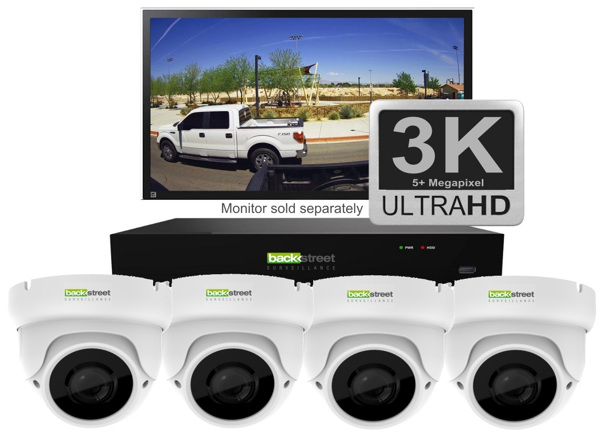 White 4 Security Dome Camera System wit zoom lens