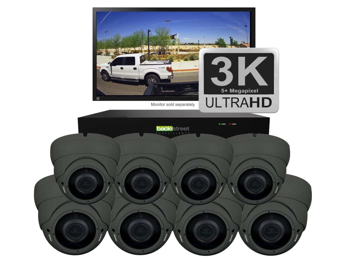 White 8 Security Dome Camera System wit zoom lens
