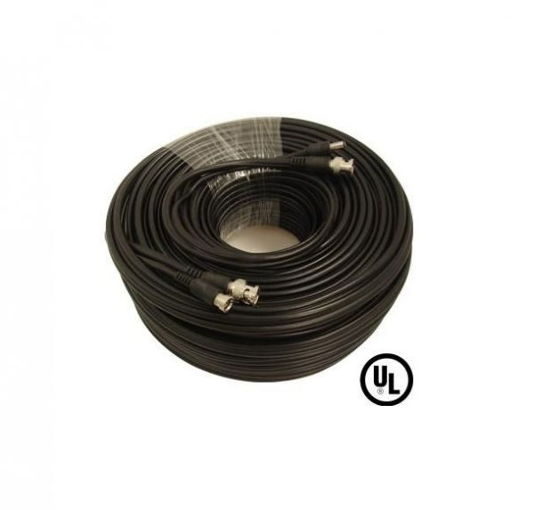 Coax CCTV Video Power cable. RG59 95% copper braided solid center conductor, 18 gauge twisted two conductor power.