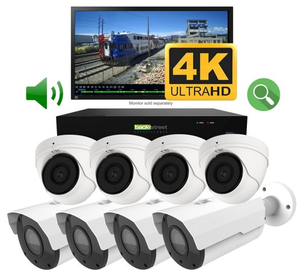4K Surveillance camera system. 4 Dome cameras and 4 bullet style cameras.
