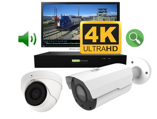 4k Two camera surveillance system with night vision and audio