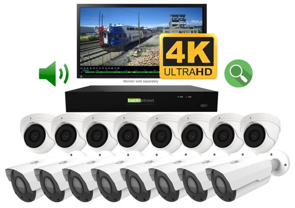 4K Business security kit. 16 Live 4K CCTV cameras with zoom & audio