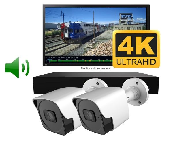 Two bullet style CCTV camera system with night vision & audio