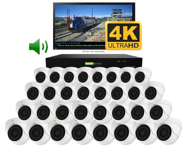 Business security & CCTV system. 32 dome camera 4K video & audio