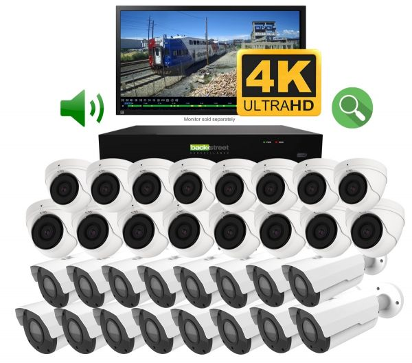 32 Surveillance cameras with 4K security NVR recorder.