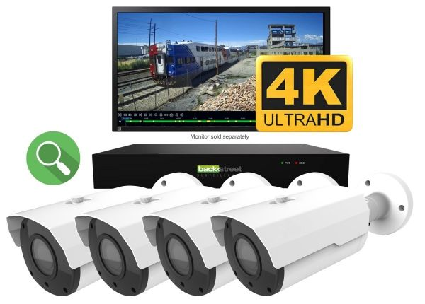 4K Security camera system with zoom lens and live 30fps video