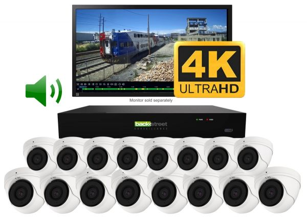 16 Surveillance Camera System with 90 foot night vision and audio. Indoor or outdoor vandal domes.